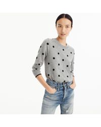 J.Crew - Gray Polka Dot Sweater In Everyday Cashmere - Lyst