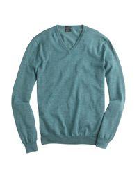 J.Crew - Green Slim Merino Wool V-neck Sweater for Men - Lyst