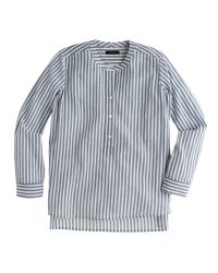 J.Crew | Gray Collarless Popover Shirt In Bengal Stripe | Lyst