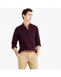 J.Crew | Red Cotton-wool Elbow-patch Shirt In Hayes Plaid for Men | Lyst