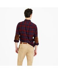 J.Crew - Red Cotton-wool Elbow-patch Shirt In Hayes Plaid for Men - Lyst