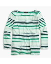 J.Crew | Green Striped Boatneck T-shirt | Lyst