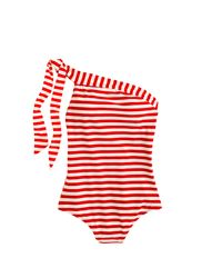 J.Crew | White Long Torso One-shoulder One-piece Swimsuit In Classic Stripe | Lyst
