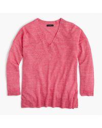 J.Crew | Pink Merino Wool-linen V-neck Sweater | Lyst