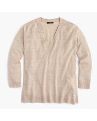 J.Crew | Natural Merino Wool-linen V-neck Sweater | Lyst