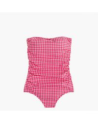J.Crew | Pink Long Torso Ruched Bandeau One-piece Swimsuit In Gingham Seersucker | Lyst