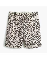 J.Crew | White Linen Bermuda Short In Leopard Print | Lyst