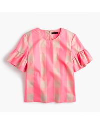 J.Crew - Pink Petite Ruffle-sleeve Top In Neon Buffalo Check - Lyst