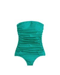 J.Crew | Green Ruched Bandeau One-piece Swimsuit In Dot | Lyst