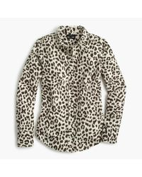 J.Crew | White Tall Cotton-linen Perfect Shirt In Leopard Print | Lyst