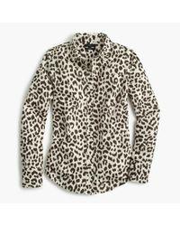 J.Crew | White Cotton-linen Perfect Shirt In Leopard Print for Men | Lyst