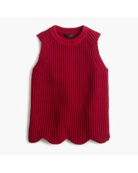 J.Crew | Red Scalloped Knit Sweater Shell | Lyst