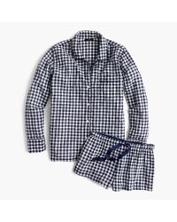 J.Crew | Blue Cotton Pajama Set In Gingham | Lyst