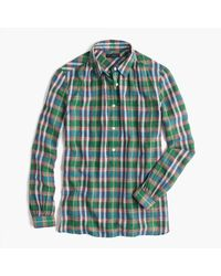 J.Crew | Green Gathered Popover Shirt In Vintage Plaid for Men | Lyst