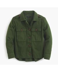J.Crew | Green Petite Garment-dyed Safari Shirt Jacket | Lyst