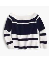 J.Crew | Blue Off-the-shoulder Striped Sweater | Lyst