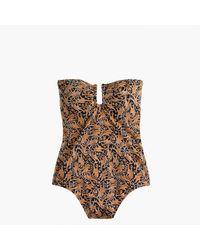 J.Crew | Brown Drake's U-front Bandeau One-piece Swimsuit In Giraffe Print | Lyst