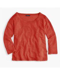 J.Crew | Multicolor Linen Sweater With Pom-pom Trim | Lyst