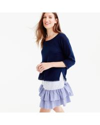 J.Crew | Blue Linen Sweater With Pom-pom Trim | Lyst