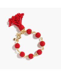 J.Crew | Red Beaded Tassel Orb Bracelet | Lyst