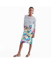 J.Crew | Blue Petite Tie-waist Skirt In Seaside Floral | Lyst