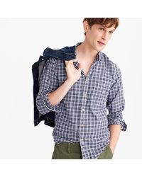 J.Crew | Blue Slim Brushed Twill Shirt In Navy Plaid for Men | Lyst