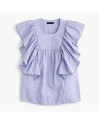 J.Crew - Blue Tall Ruffle-front Shirt In End-on-end Cotton - Lyst
