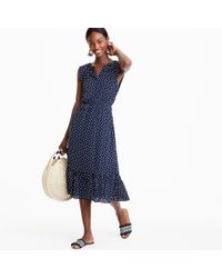 J.Crew - Blue Petite Mercantile Cap-sleeve Midi Dress In Dragonfly Print - Lyst