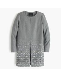 J.Crew | Gray Collection Cocoon Coat In Embellished Italian Wool Melton | Lyst