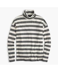 J.Crew | Gray Oversized Striped Turtleneck | Lyst