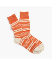 J.Crew - Orange Mixed Stripe Socks for Men - Lyst