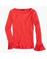 J.Crew - Red Ribbed Bell-sleeve Top - Lyst