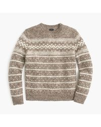 J.Crew - Gray Wool Fair Isle Sweater for Men - Lyst