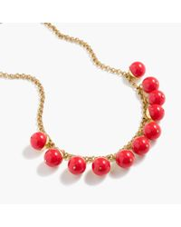 J.Crew | Red Beaded Gold Necklace | Lyst