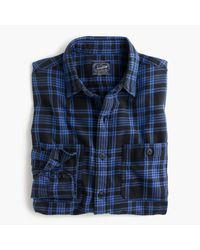 J.Crew | Midweight Flannel Shirt In Black Plaid for Men | Lyst