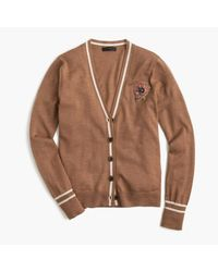 J.Crew | Brown V-neck Cardigan Sweater With Floral Patch | Lyst