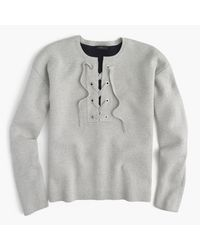 J.Crew | Gray Collection Bonded Lace-up Sweater | Lyst