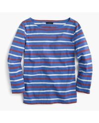 J.Crew | Blue Boatneck T-shirt In Mixed Stripe | Lyst