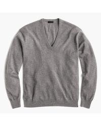 J.Crew   Gray Italian Cashmere Boyfriend V-neck Sweater for Men   Lyst