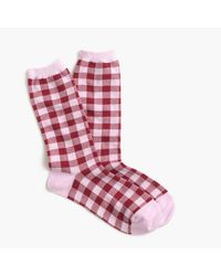 J.Crew | Pink Trouser Socks In Gingham Print | Lyst