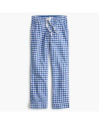 J.Crew | Blue Tall Gingham Flannel Pajama Pant | Lyst