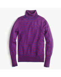 J.Crew | Purple Tippi Turtleneck Sweater In Stripe | Lyst