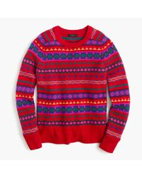 J.Crew | Red Holly Sweater In Fair Isle | Lyst