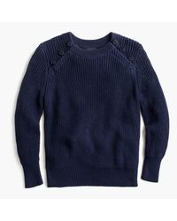 J.Crew | Blue Textured Cotton Sweater With Anchor Buttons | Lyst