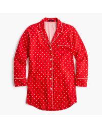 J.Crew | Red Knit Nightshirt In Polka Dot | Lyst