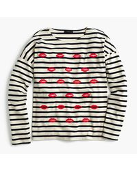 J.Crew | Blue Embroidered Lips Striped T-shirt | Lyst