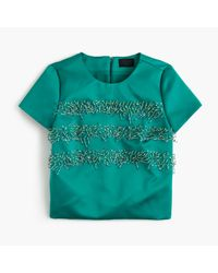 J.Crew | Green Collection Italian Satin Embellished Striped Top | Lyst