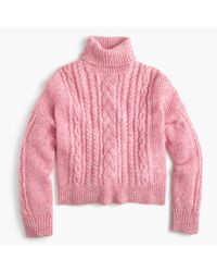 J.Crew   Pink Collection Cropped Cable Turtleneck Sweater   Lyst