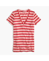 J.Crew | Red Linen V-neck Pocket T-shirt In Stripe | Lyst