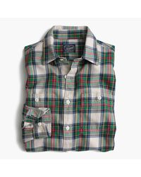 J.Crew   Midweight Flannel Shirt In White And Green Plaid for Men   Lyst